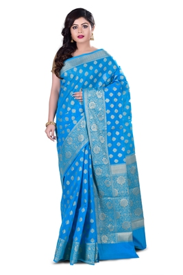 Light blue woven chanderi saree
