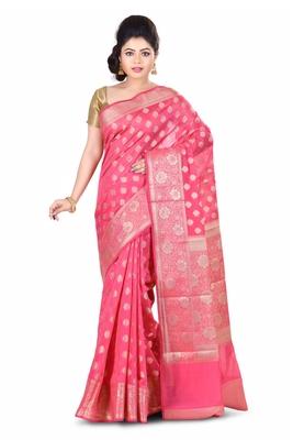 light Pink hand woven chanderi saree