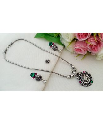 Traditional Oxidized German Silver Chain with Devi Pendant with Matching Ear Rings & Press Type Nose Pin