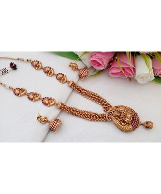 Traditional Matt Finish Multi Layer Haaram with Lakshmi Pendant with a pair of Matching Jhumkas
