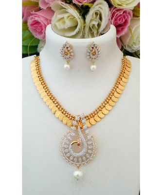 Traditional Gold Tone Lakshmi Coin Necklace with Removable American Diamond Pendant & Ear Rings