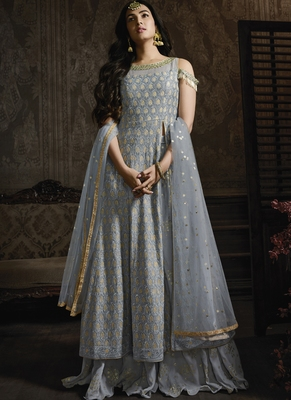 Smoke Grey Lehenga Kameez With Dupatta