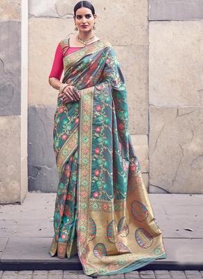 Teal Banarasi Wedding Wear saree with blouse