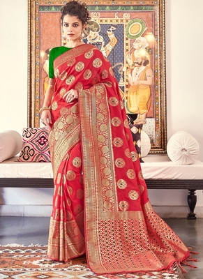Red Banarasi Wedding Wear saree with blouse