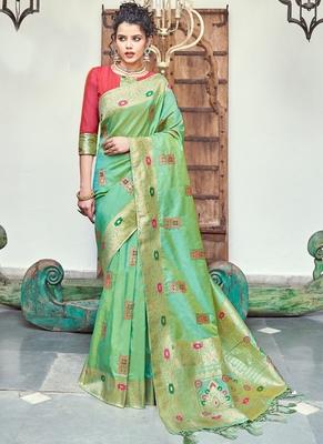 Parrot Green Banarasi Wedding Wear saree with blouse