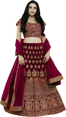Maroon Embrodery Satin Attractive Lehngha Lehngha choli with Blouse