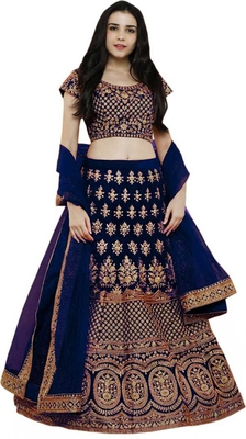 Navy Blue Embrodery Satin Attractive Lehngha Lehngha Choli With Blouse
