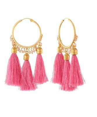 Gold Plated Silk Thread Tassel Hoop Earrings For Women