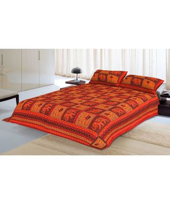 Multicolor Handmade Katha Work Bed sheet  With 2 Pillow Cover