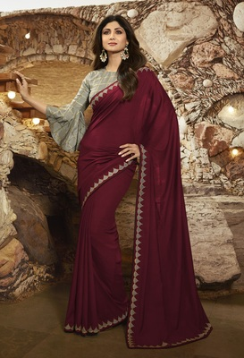 MAROON EMBROIDERED FANCY FABRIC BOLLYWOOD SAREE WITH BLOUSE
