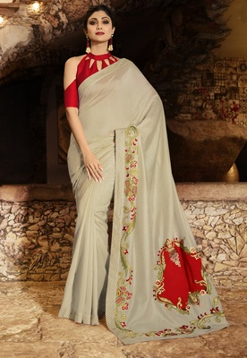 BEIGE EMBROIDERED FANCY FABRIC BOLLYWOOD SAREE WITH BLOUSE