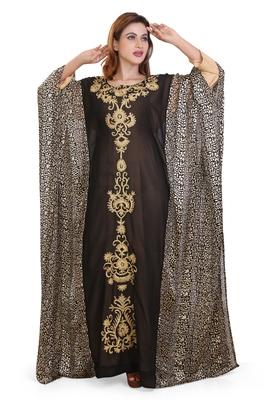 digitel print  moroccan islamic dubai kaftan farasha aari and stone work dress