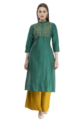 green Women Embroidered POLLY SILK KD17A