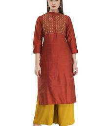 brown Women Embroidered  POLLY SILK KD17B