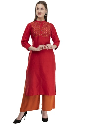 red Women Embroidered POLLY SILK KD17C