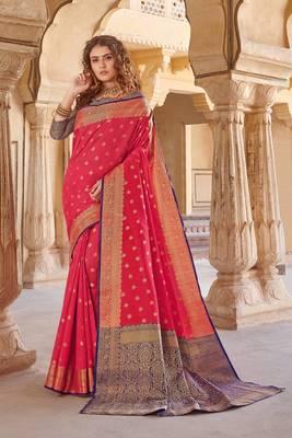 Pink Handloom art silk Jacquard saree with blouse