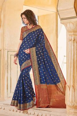 Navy Blue Handloom art silk Jacquard saree with blouse