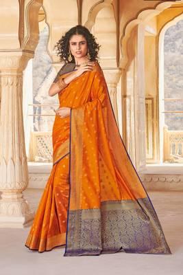 Mustard Yellow Handloom art silk Jacquard saree with blouse
