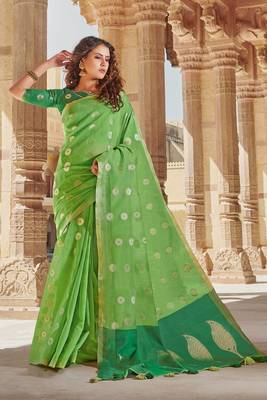 Light Green Linen Cotton Zari Work saree with blouse