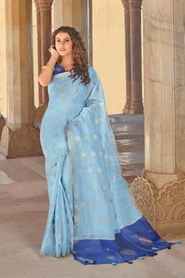 Sky Blue Linen Cotton Zari Work saree with blouse