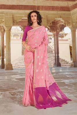 Light Pink Linen Cotton Zari Work saree with blouse