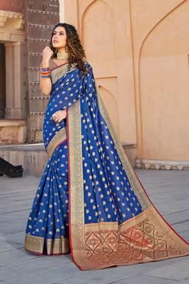 Blue Handloom art silk Jacquard saree with blouse
