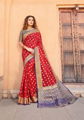 Red Handloom art silk Jacquard saree with blouse