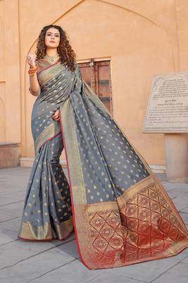 Grey Handloom art silk Jacquard saree with blouse