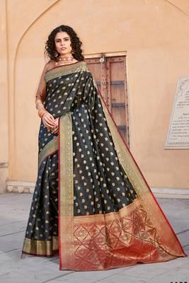 Black Handloom art silk Jacquard saree with blouse
