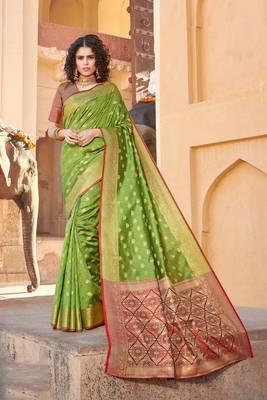 Parrot Green Handloom art silk Jacquard saree with blouse