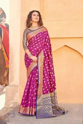 Magenta Handloom art silk Jacquard saree with blouse