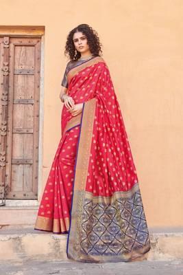 Gajari Handloom art silk Jacquard saree with blouse