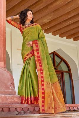 Parrot Green art silk Jacquard saree with blouse