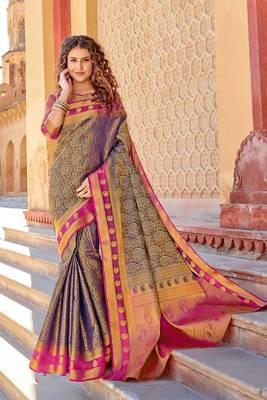 Blue art silk Jacquard saree with blouse