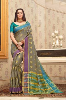Grey Cotton Handloom Woven Work saree with blouse