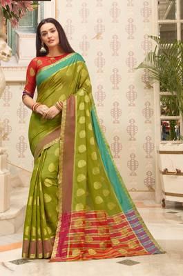 Mehendi Green Cotton Handloom Woven Work saree with blouse