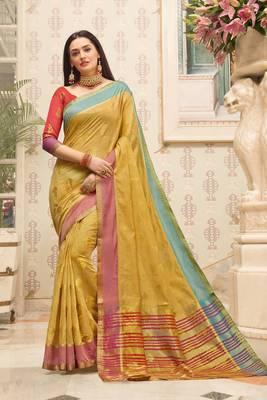 Beige Cotton Handloom Woven Work saree with blouse