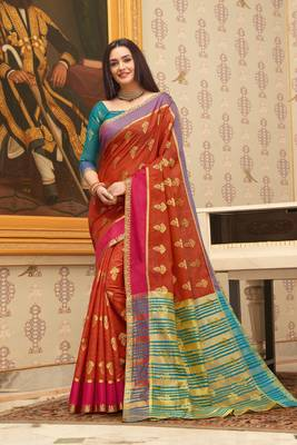 Rusk Red Cotton Handloom Woven Work saree with blouse