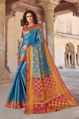Sky Blue art silk Jacquard saree with blouse