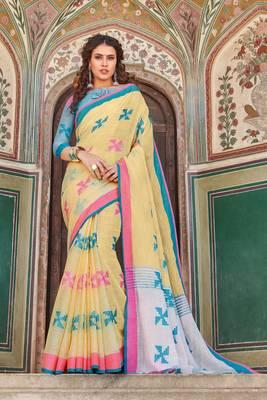 Light Yellow Linen Cotton Thread Work saree with blouse