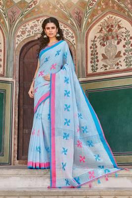 Sky Blue Linen Cotton Thread Work saree with blouse