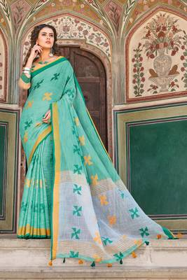 Green Linen Cotton Thread Work saree with blouse