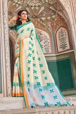Off White Linen Cotton Thread Work saree with blouse
