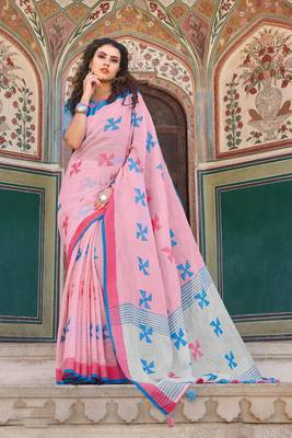 Pink Linen Cotton Thread Work saree with blouse