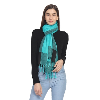 Teal & Black Woven Geometric Viscose Rayon Stole