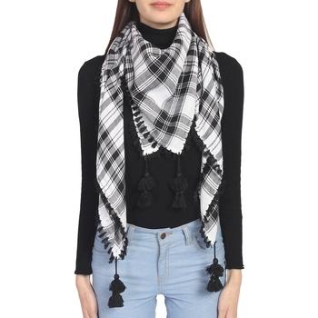 Black & White Woven Arabic Viscose Rayon Square Scarf