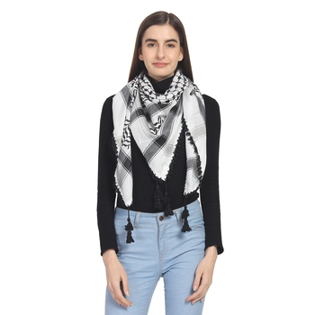 Black & White Woven Polyester Square Scarf