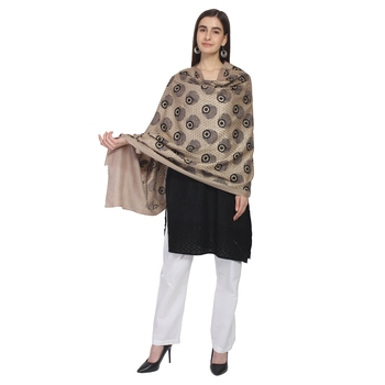 Taupe & Black Woolen Paisley Embroidered Shawl
