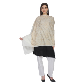 White & Gold Woolen Ethnic Embroidered Shawl