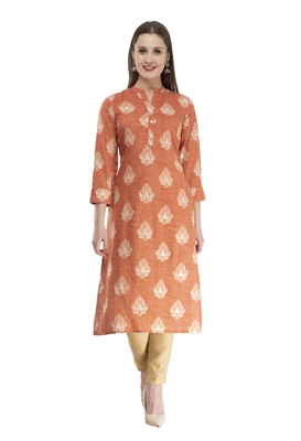 brown Womens Printed Straight Kurta KD18B